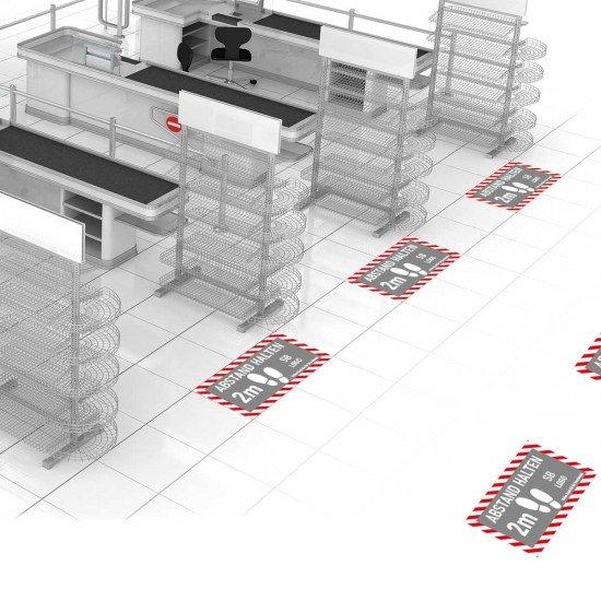 ABSTAND HALTEN Fussbodenaufkleber FBA010 mit individueller Gestaltung